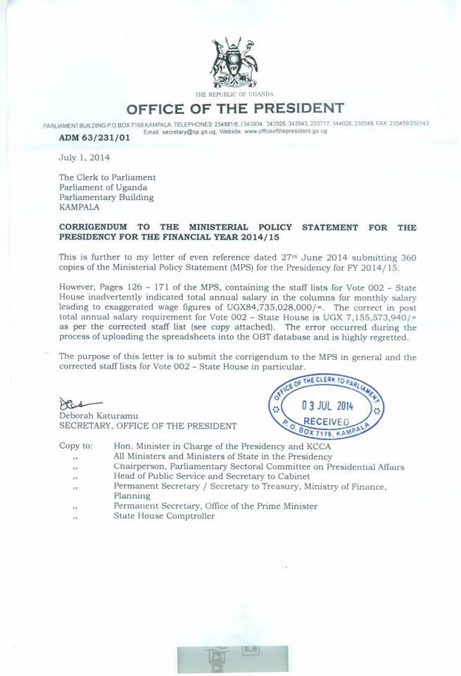 Budget 14-15 Uganda