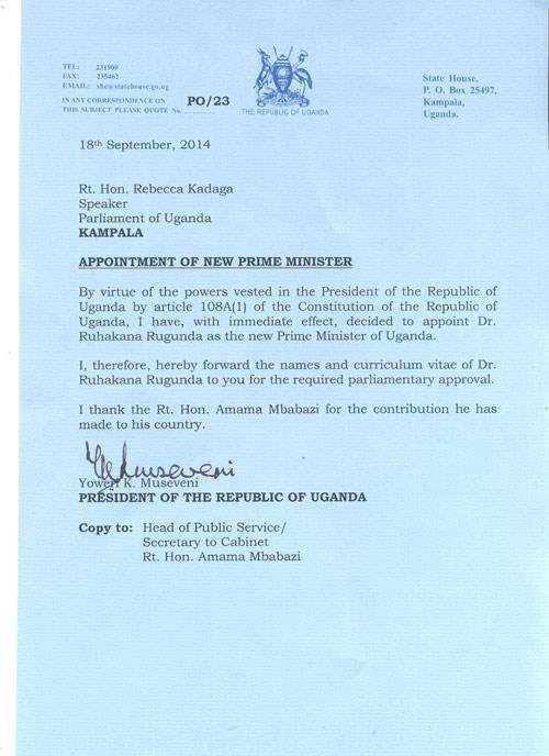 Letter Po 23 Appointment Of New Prime Minister In Uganda Minbane