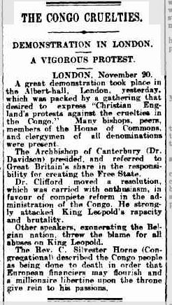 22 Nov 1909 - THE CONGO CRUELTIES. DEMONSTRATION IN LONDON