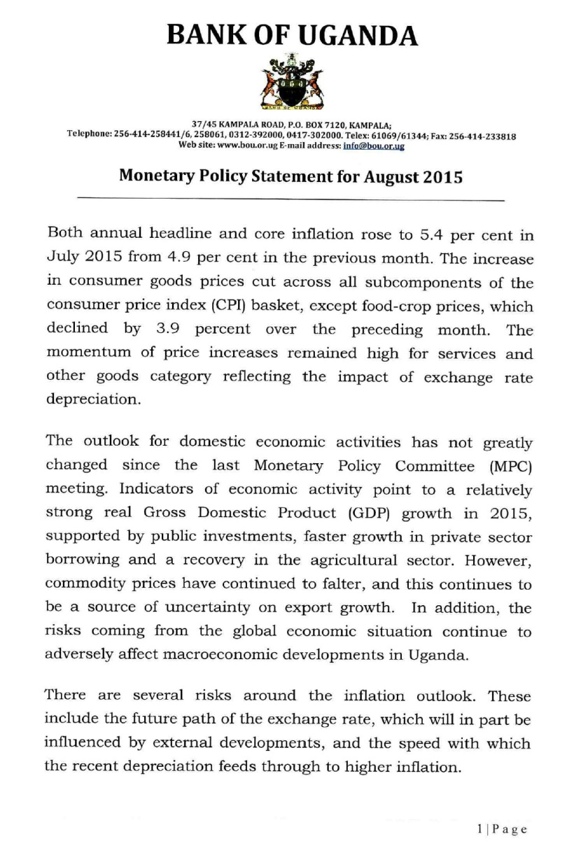 BoU Monetary PS August2015P1