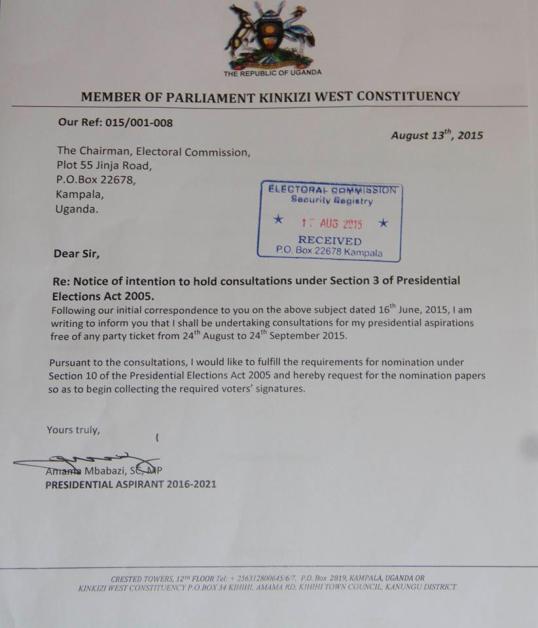 MP Amama Mbabazi Presidential Aspirant 2016-2021
