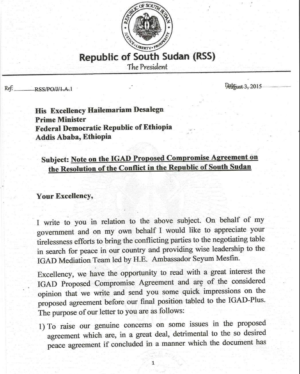 ref rss po j j a note on the igad proposed compromise ref rss po j j a note on the igad proposed compromise agreement on the resolution of the conflict in the republic of south sudan letter between the