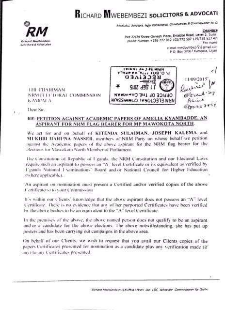 Amelia Kyambadde - Academic Paper letter P1