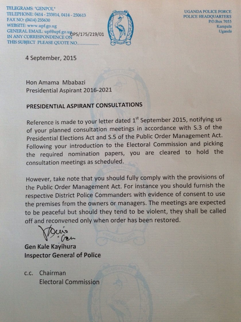 Kale Kayihura Letter to Amama 040915
