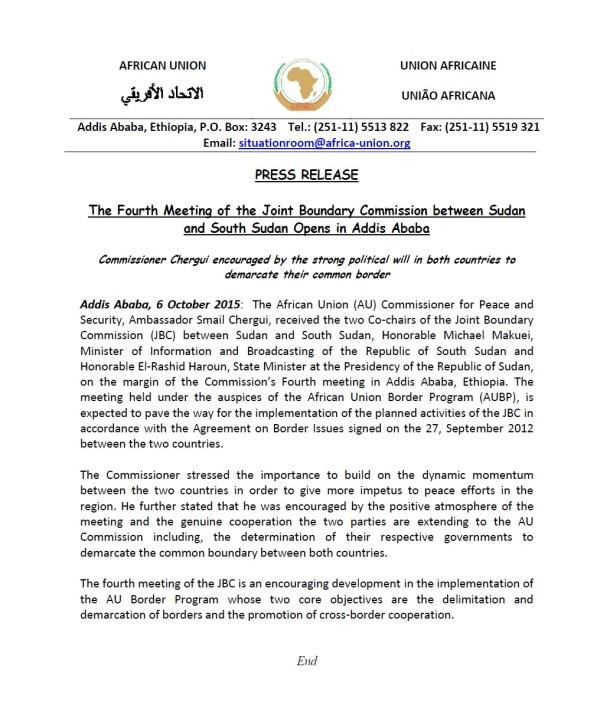 AU Sudan South Sudan Joint Statement 061015