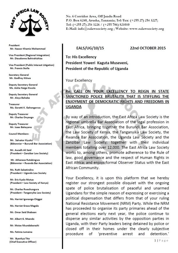 EALS Museveni Letter P1