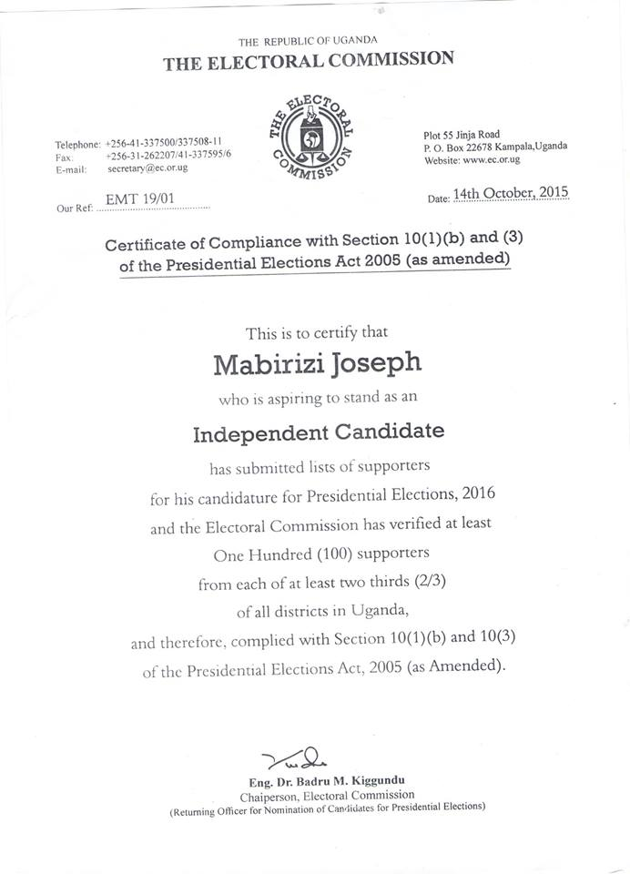Letter from Electoral Commission – Certificate of Joseph Mabirizi as ...