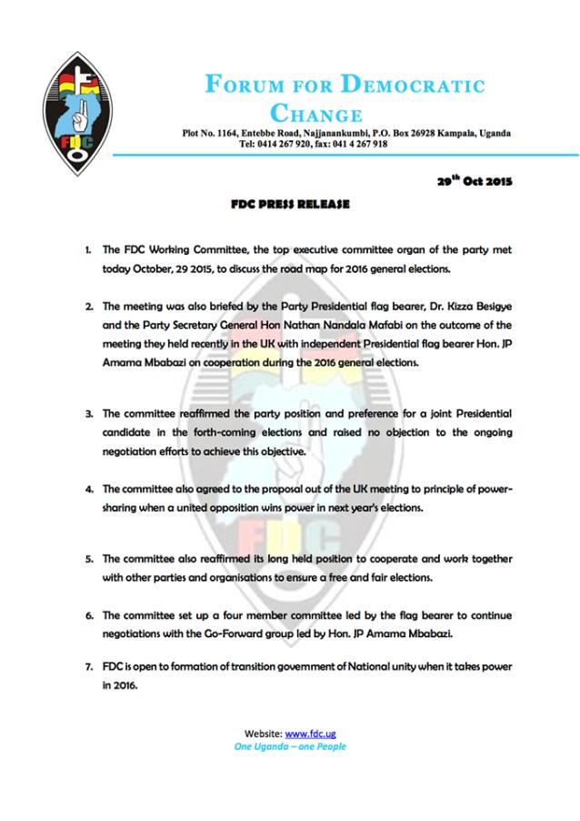FDC Press Release 291015