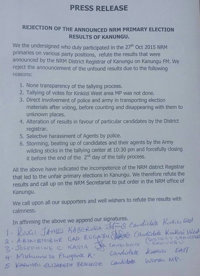Rejection of Kanungu Election