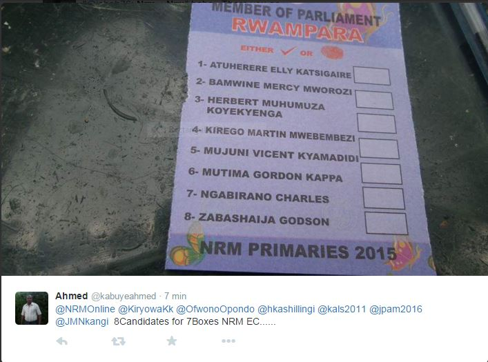 Rwampara MPs Ballot Papers 271015