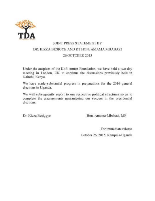 TDA Kizza Besigye 261015