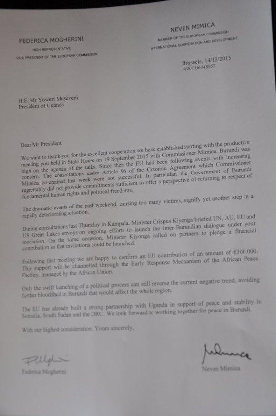 EU Burundi Uganda Letter