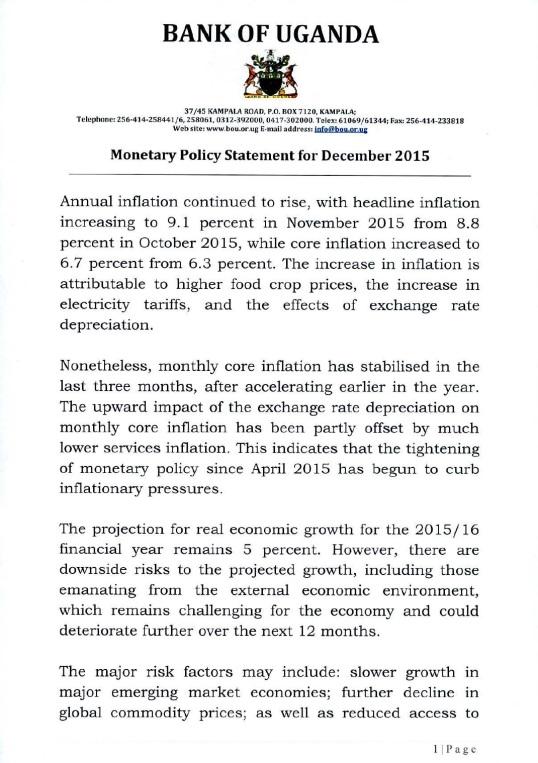 Monetary Policy Statement December 2015 P1