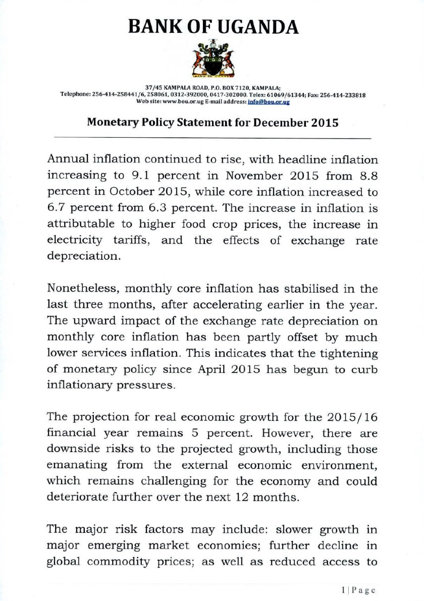 Monetary Policy Statement December 2015 P1