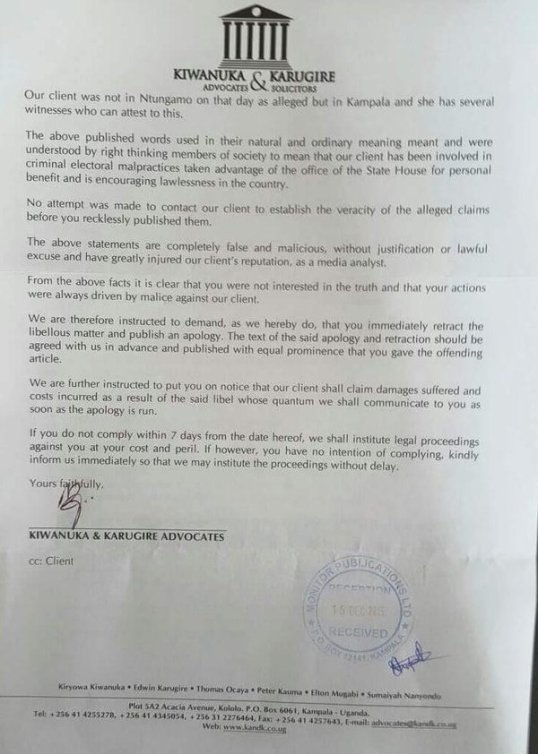 Amama 15.12.15 Letter Kiwanuka and Karugire P2
