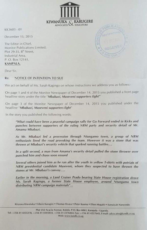 Amama 15.12.15 Letter Kiwanuka and Karugire