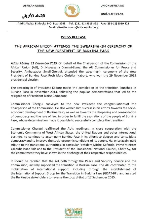 Burinka African Union New President 31.12.2015