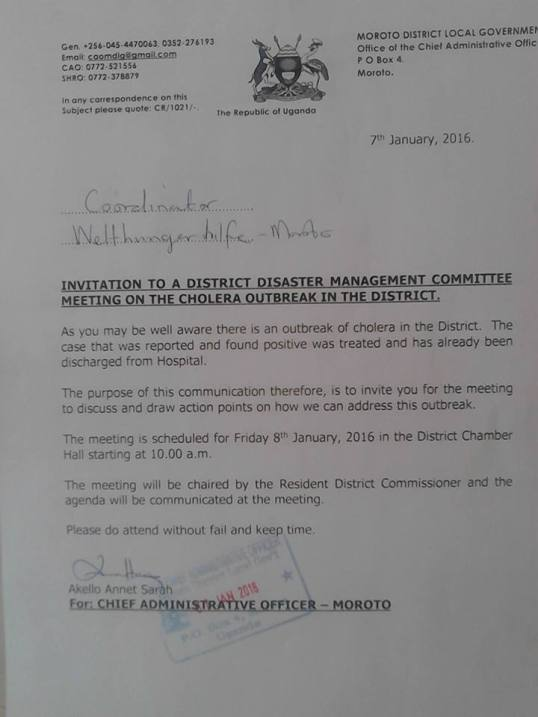 Cholera Outbreak - Uganda 07.01.2016