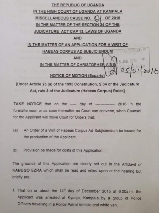 Court Order Christopher Aine P1 050116