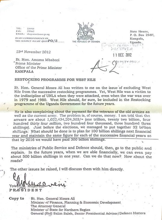 Letter from YKM to Amama 2012