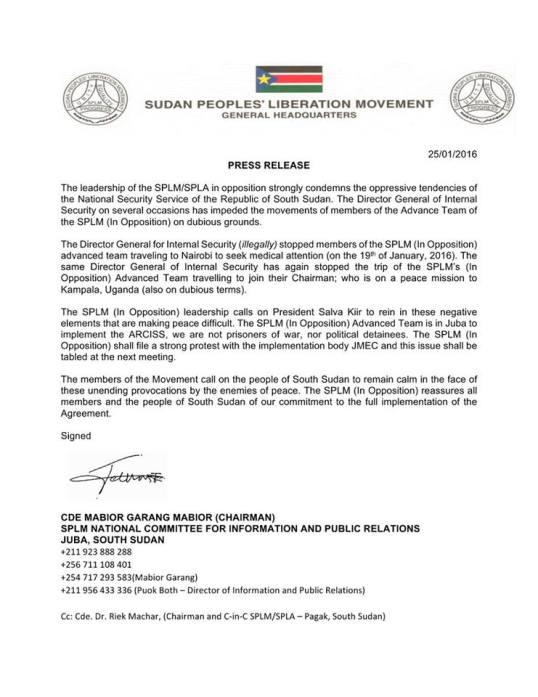 SPLM Press Release 25.01.2016