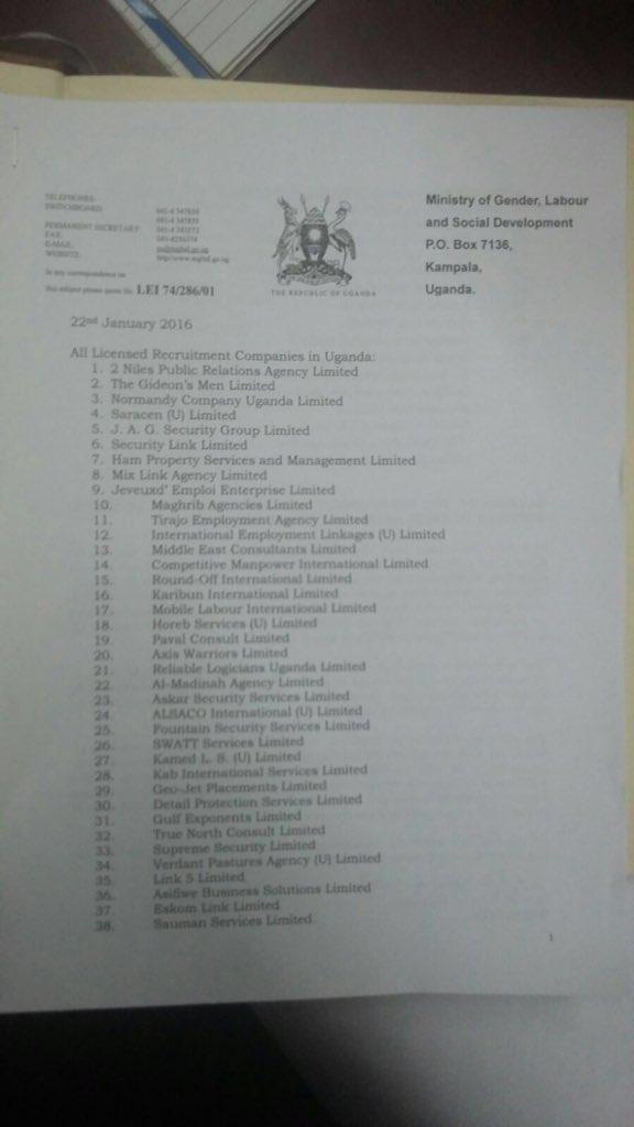 Uganda - Recruitment Saudi Arabia 22.01.2016 P2