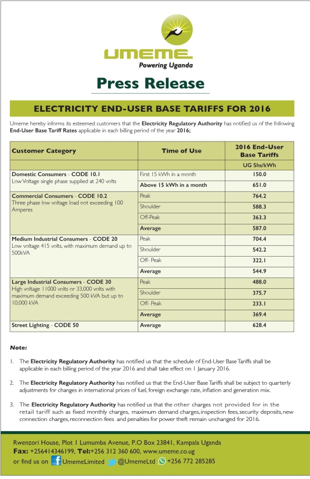 UMEME PR Electricty Tariffs for 2016