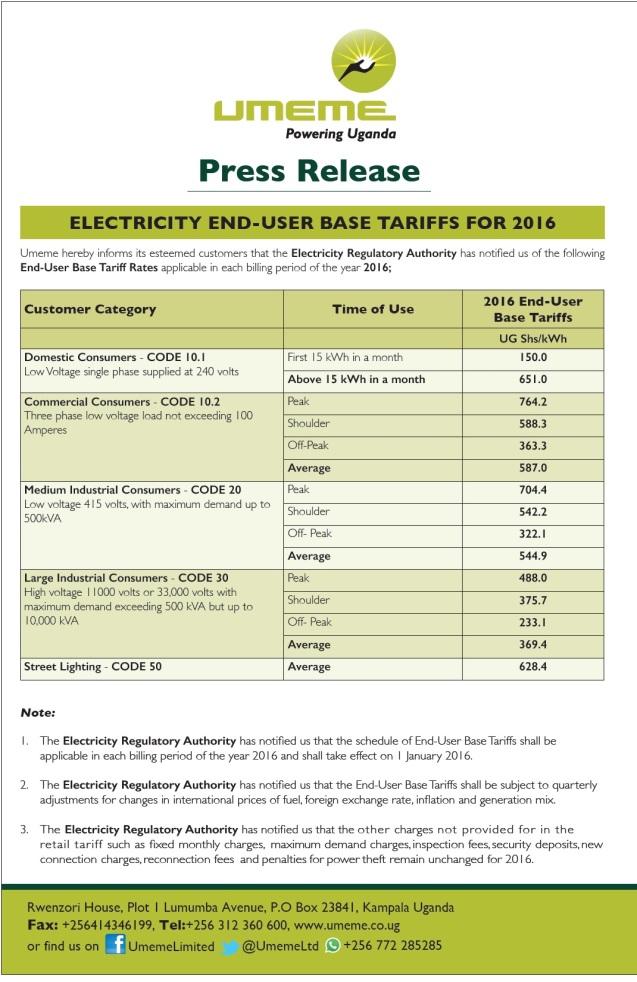 UMEME PR Electricty Tariffs for 2016