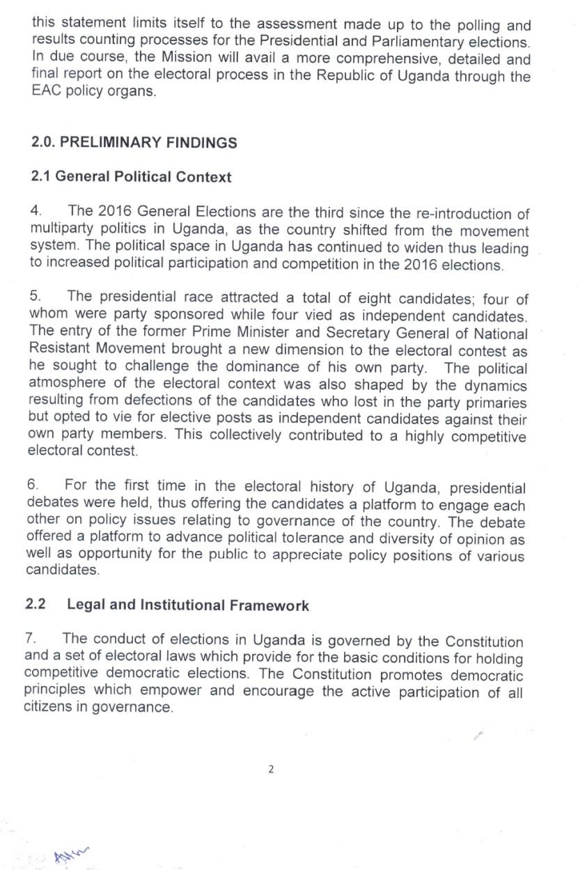 EAC PS Uganda Election 2016  P2