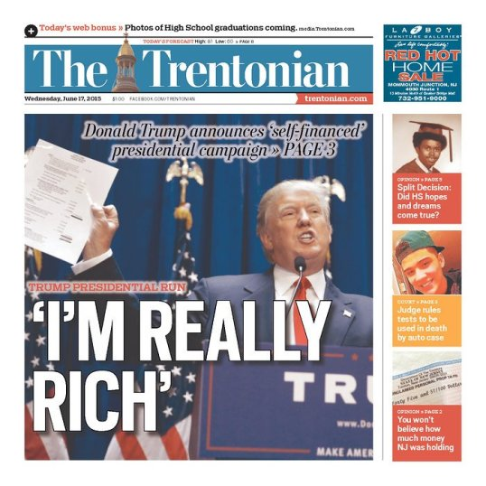 The Trentonian Trump Front Page