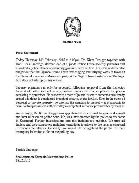 UPF 18.02.2016 Press Statement Tallying