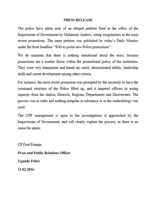 UPF Press Release 11.02.2016
