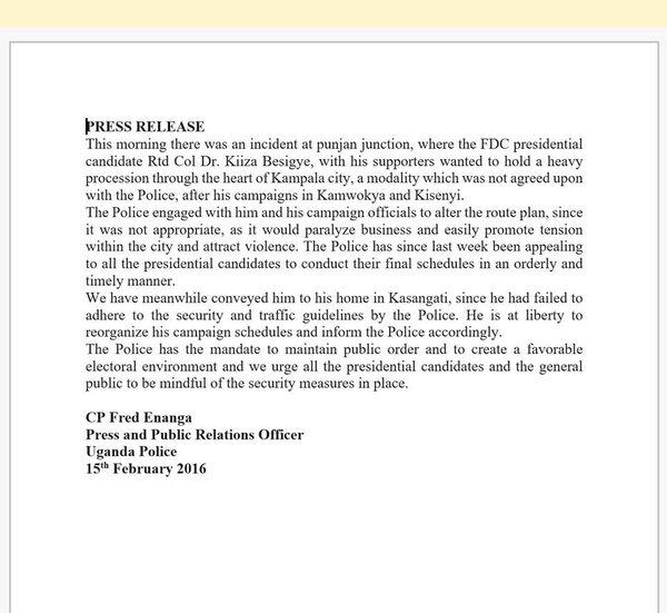 UPF Press Release 15.02.2016