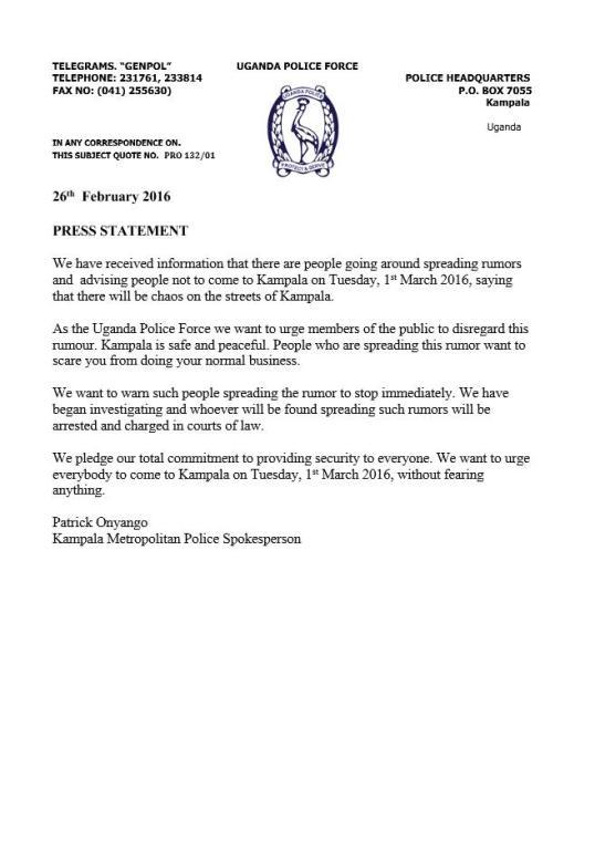 UPF Press Statement 26.02.2016