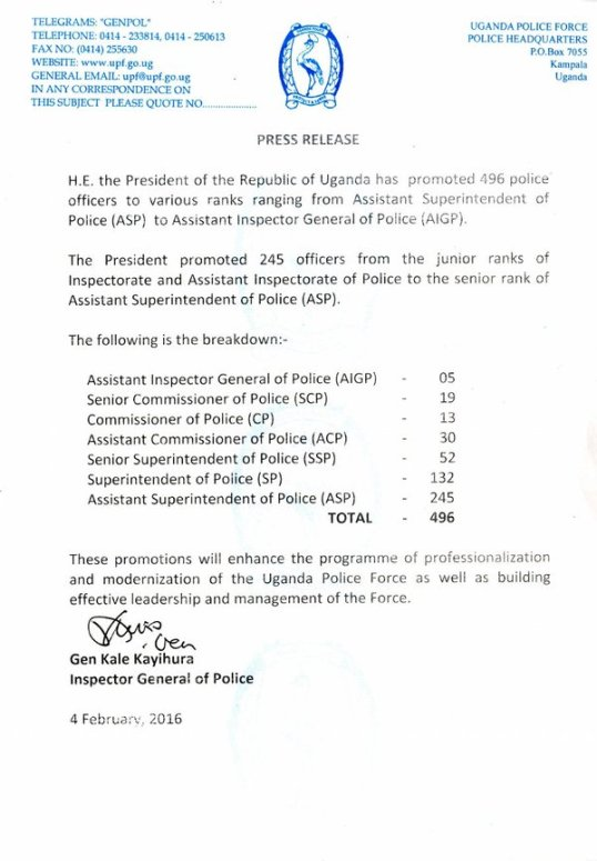 UPF Promote Officers 04.01.2016