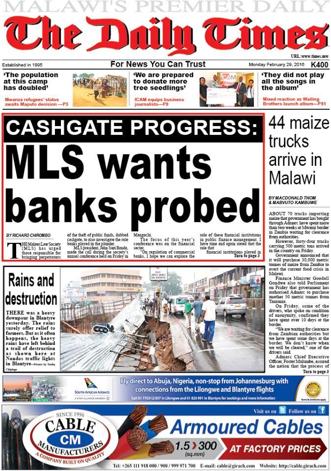 29.02.2016 Newspaper Malawi