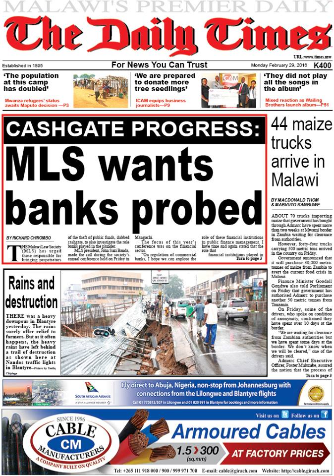 29.02.2016 Newspaper Malawi