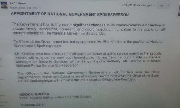 Appointment of Nat. Gov. Spokesmen Kenya