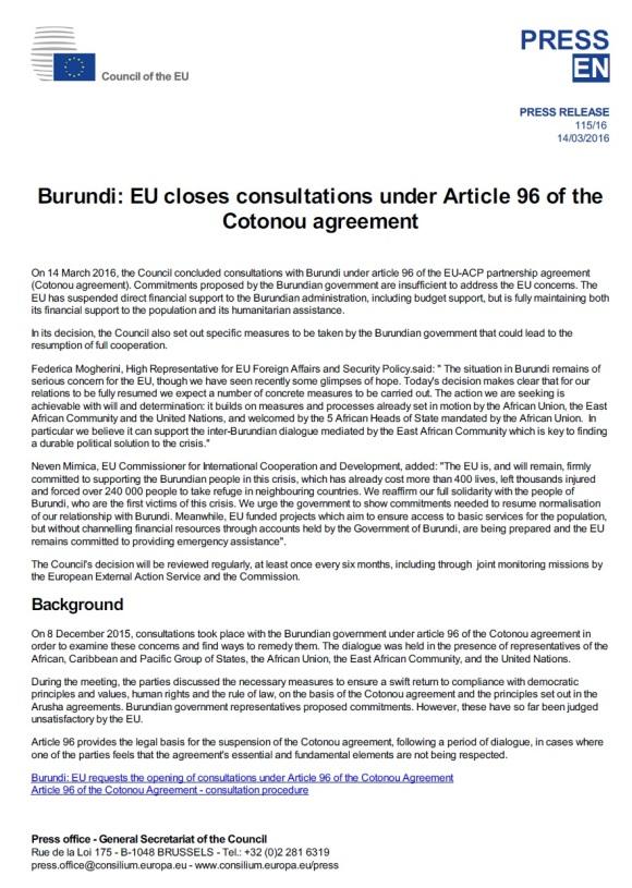 EU Burundi 14.03.2016