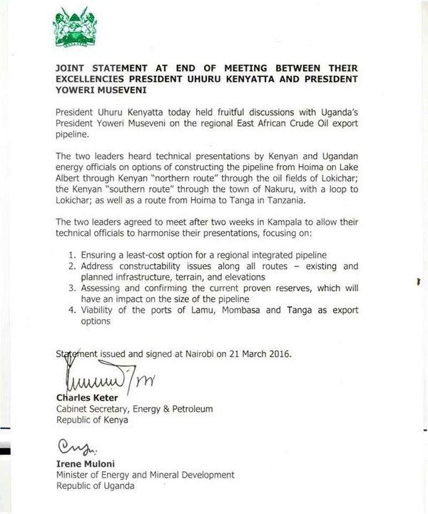Joint Statement 21.03.2016 Kenya Uganda