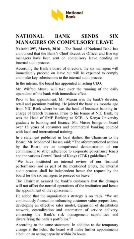 Kenya National Bank 29.03.2016