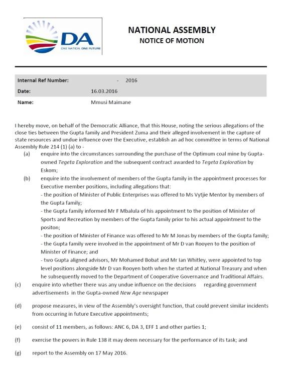 Motion to ZA Parliament - DA Mmusi Maine 16.03.2016
