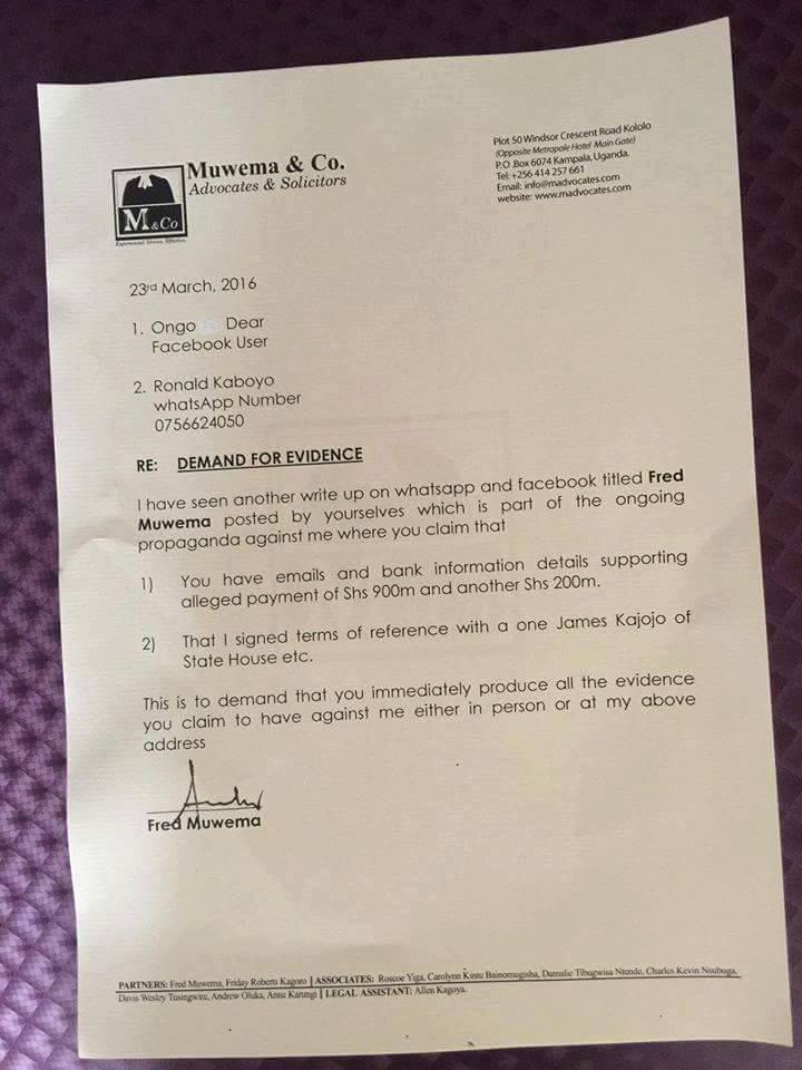 Muwema Letter 23.03.2016