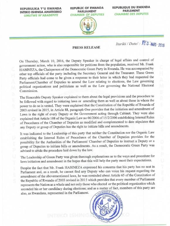 Rwanda 10.03.2016 PR
