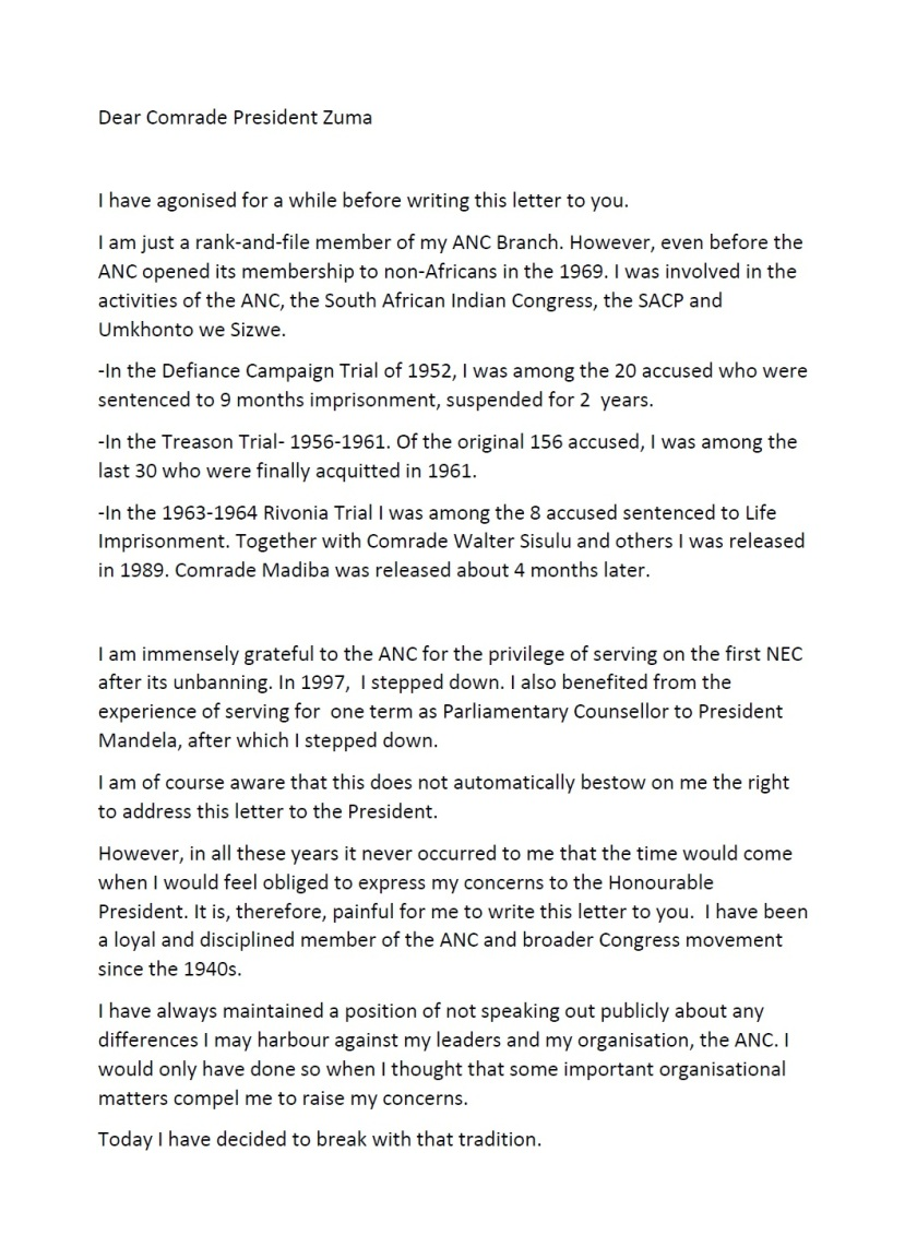 Ahmed M Kathrada Letter P1