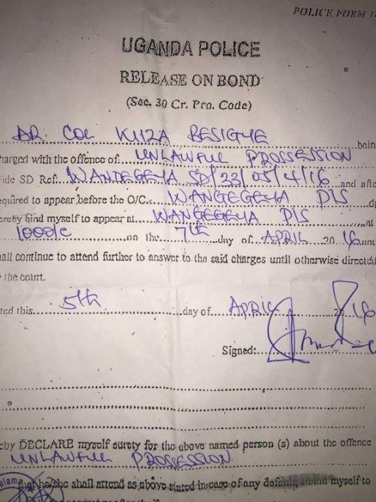 Besigye Release on Bond 05.04.2016 P2