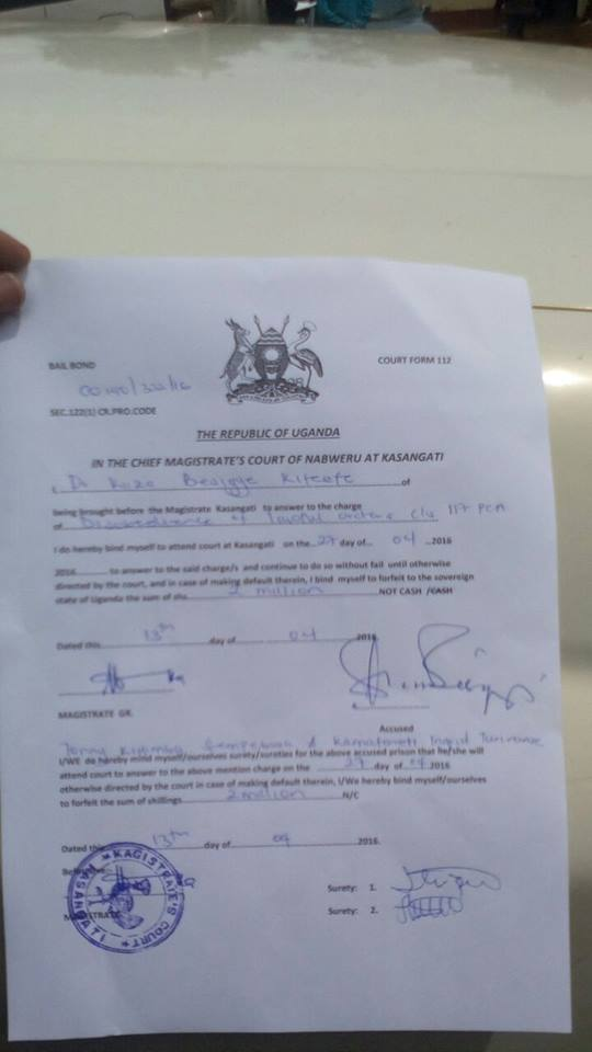 Besigye Kasangati Magistrate Court 13.04.2016