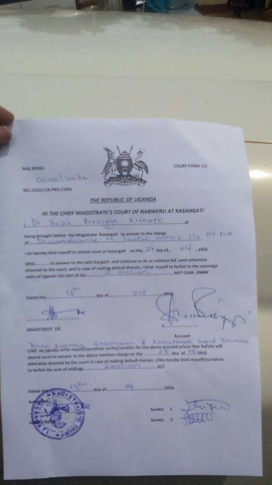 Besigye Kasangati Magistrate Court 13.04.2016