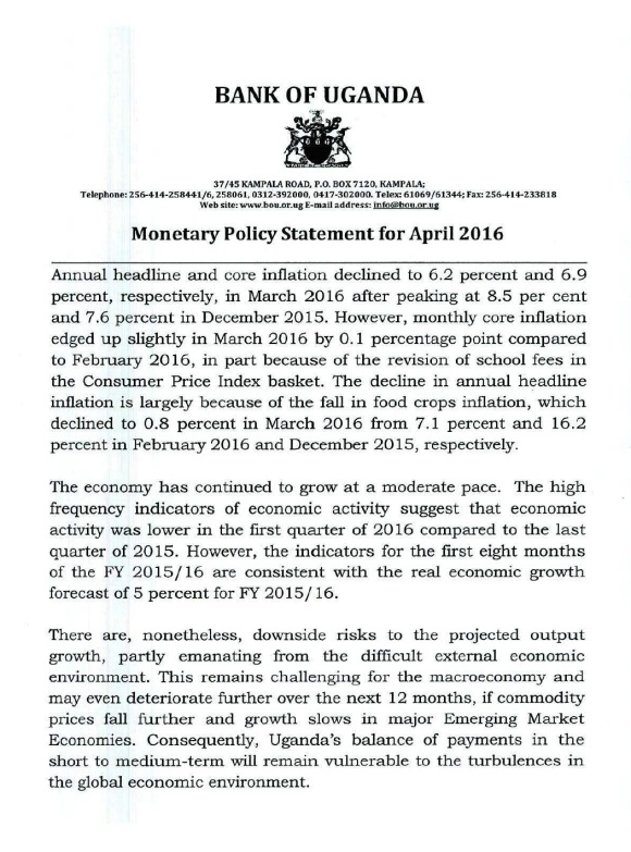 BoU MPS April 2016 P1