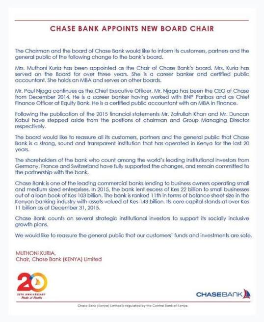 Chase Bank Kenya Chairmen
